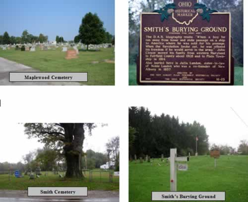 photos of maple and smith cemeteries, and the smith burying ground show all the cemeteries of plain township, ohio