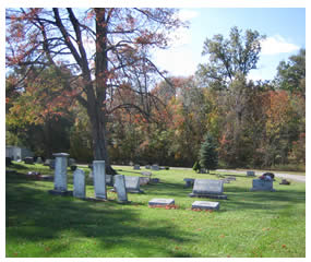 back view of Maplewood Cemetery in Plain Township, Ohio
