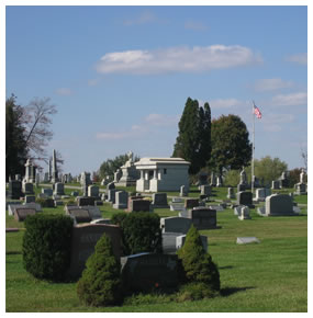Front view of Maplewood Cemetery in Plain Township, Ohio